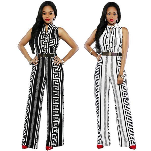 Nuevo verano sin mangas sin mangas pantalón largo mono mujer mameluco negro blanco a rayas casual recta pierna ancha moda general