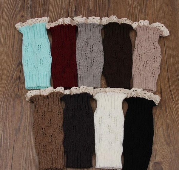100Pairs women Crochet lace boot cuffs handmade Knit leg warmer Ballet lace Boot Cuff Leg Warmers Christmas Boot Socks covers 9 colors