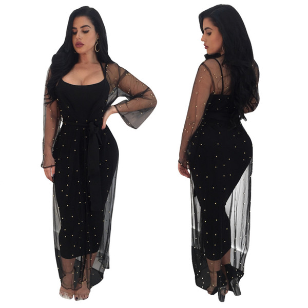 2018 New Two Pieces Black PartyDresses with Coat Sexy Spaghetti Neck Beaded Long Sleeves Women Casual Dress +Long Mid Calf Jacket with Sash