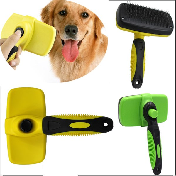 Pet Grooming Brush Comb Dog Cat Self Remove Cleaning Slicker Brush Pet Long Hair Bath Clean UP Tool Accessories WX9-738