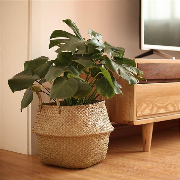 2pcs /Set Rattan Plant Flower Pot Floor Nursery Pots Bonsai Laundry Storage Basket Holder Organizer Home Garden Balcony Decor