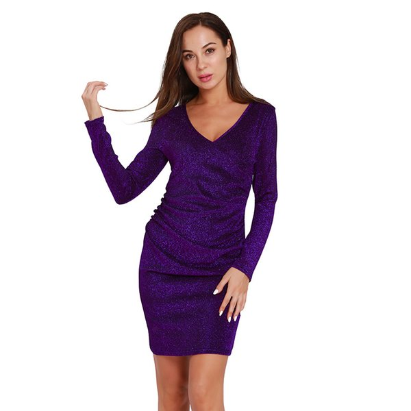 New Hot full sleeve bling bling Women's Sexy Party Dress Fashion V-Neck Sexy Clubwear Dresses Bodycon Slim fit Sexy Cocktail Dress S M L XL