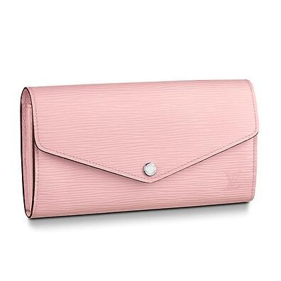 M61216 SARAH WALLET Water ripple pink Real Caviar Lambskin Chain Flap Bag LONG CHAIN WALLETS KEY CARD HOLDERS PURSE CLUTCHES EVENING