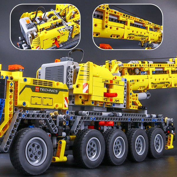 Mechanical heavy machine crane electric crane boy ' s intelligence assembling toy building block toy