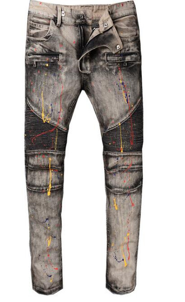 2018 Europe and the United States high street fashion motorcycle pants do the old gray paint stitching Slim micro-embossed jeans