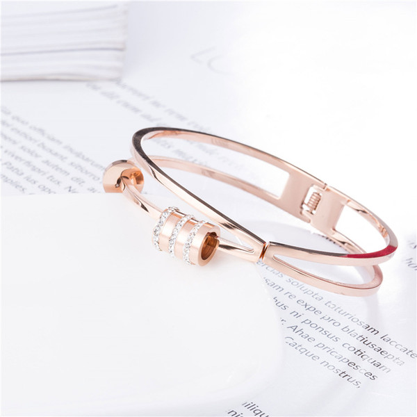 With rinestone shifting movable rings braccialetto 316L titanium tainless steel 18K rose gold plating bangle hinge bangle