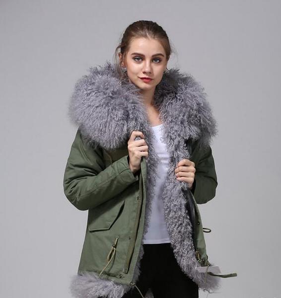 gri kürk Ordu Yeşil ceket