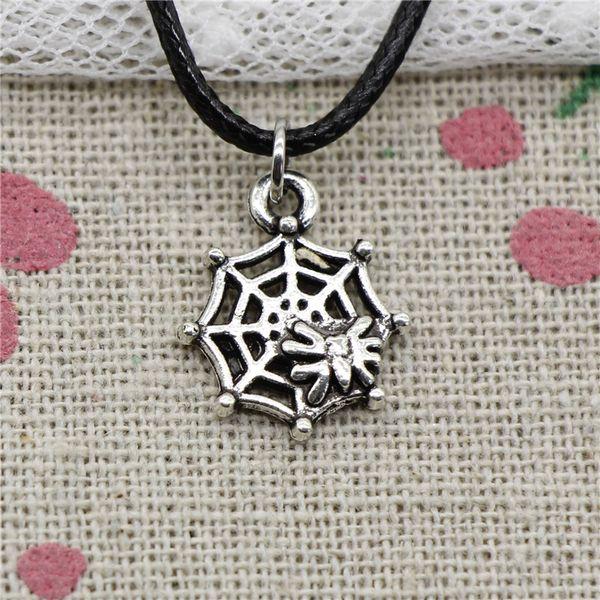 Creative Fashion Antique Silver Pendant spider cobweb 17*14mm Necklace Choker Charm Black Leather Cord Handmade Jewlery