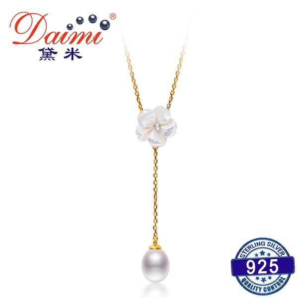 DAIMI Romantic Peach Blossom S925 Sliver Necklace Pendant About 7mm Water Drop Freshwater Pearl Pendant S18101307