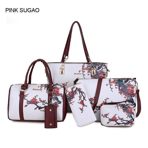 Pink sugao handbag set 6pcs print large lady women designer bag 2018 new style Sac à main tote bag crossbody shoulder bag purse wallet