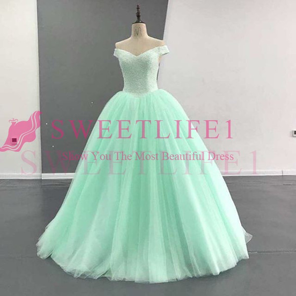 2019 Mint Green Off The Shoulder Quinceanera Dresses Lace Up Beaded Crystal Ball Gown Puffy Tulle Sweet 16 18 Formal Evening Occasion Dress