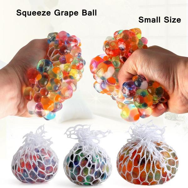 Small Anti Stress Mesh Grape Ball Latex Colorful Anti Stress Relief Ball Stress Autism Mood Relief Hand Wrist Squeeze Novelty Toy AAA1113