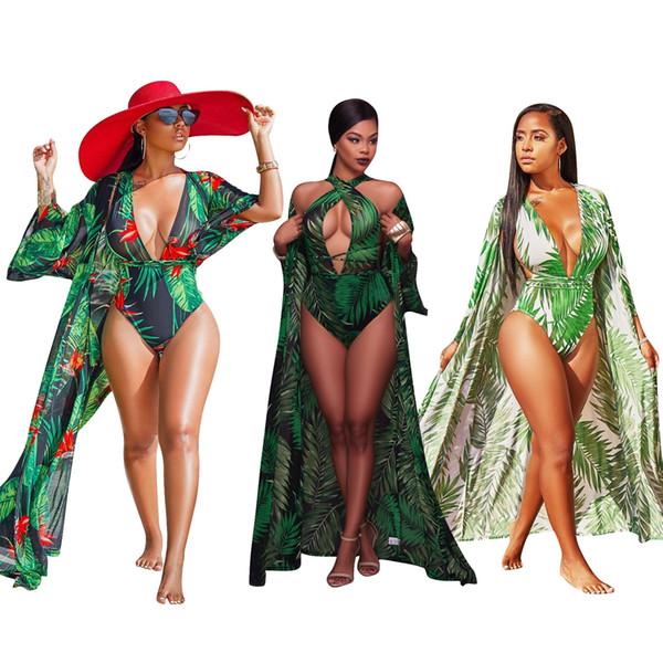 2018 Two pieces Impressão Verde Sexy swimsuit Mulheres Verão Praia empurrar para cima Biquíni swimwear Fashional Maiô Senhoras Encobrir Conjuntos de Biquíni