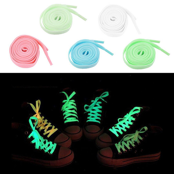 2 pcs 100cm Luminous Glow In The Dark Fluorescence Shoelace Shoe Lace Polyester Nylon multicolor Worldwide sale