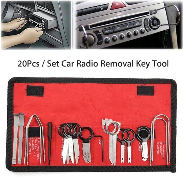 Car Radio Audio Removal Install Key Kit Automotive Audio Stereo Dash CD Player Radio Removal Keys Tool Set 20 PCS