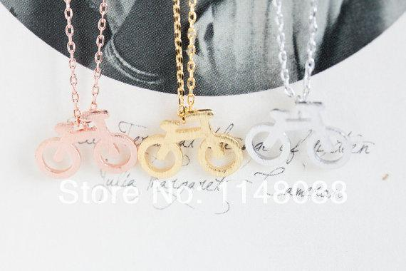 Fashion gold silver rose exquisite cute casual tiny bicycle pendant necklace for boys and girls gifts