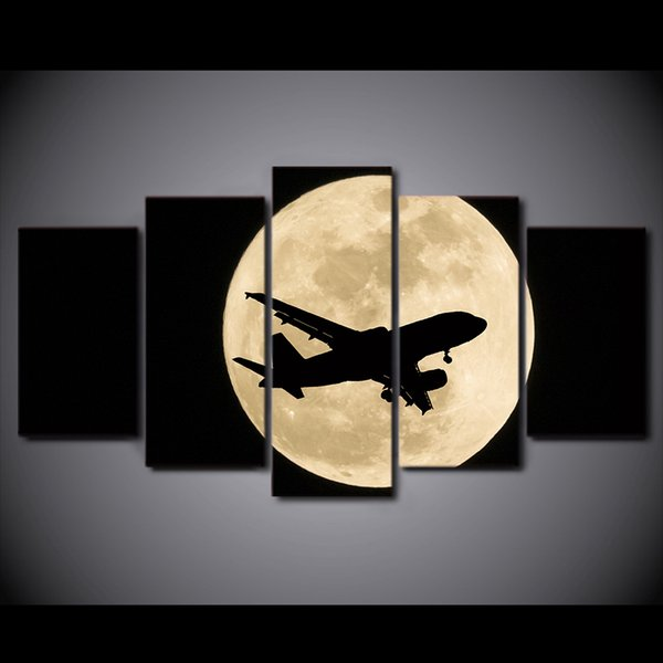 HD Printed 5 Piece Canvas Art Airplane Moon Night Painting Wall Pictures for Living Room Modern Free Shipping CU-2890C
