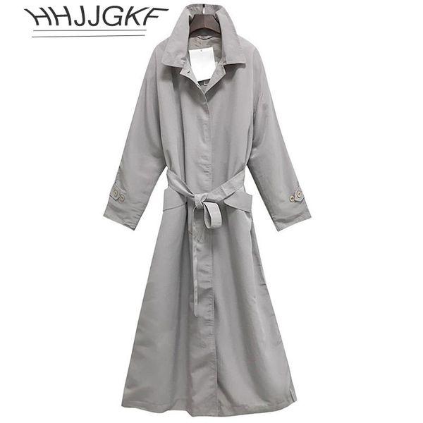 Autumn Women Trench coat 2018New Fashion Medium long Loose Casual Solid color Long sleeve Belt Slim Windbreaker HHJJGKF209