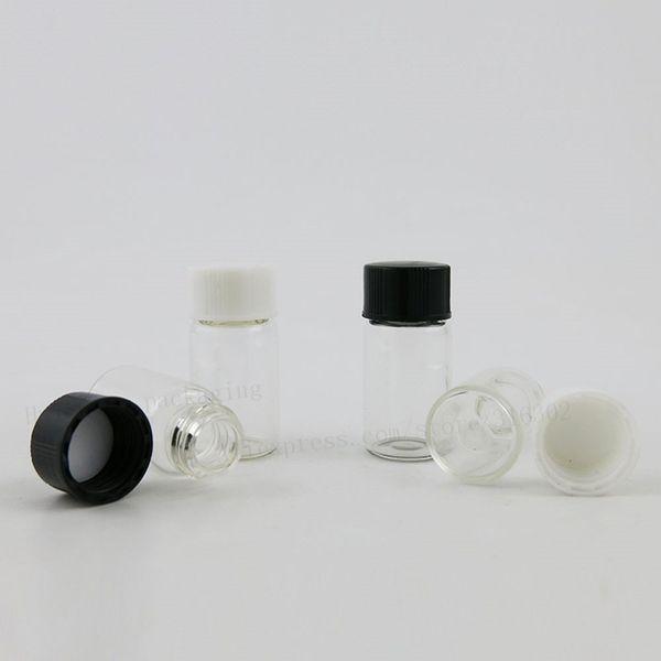100 х 3 мл ясно пустой мини стеклянная бутылка с пластиковыми крышками 1/10 унции мини стеклянные флаконы 3cc винт шеи образец флаконы с черной крышкой