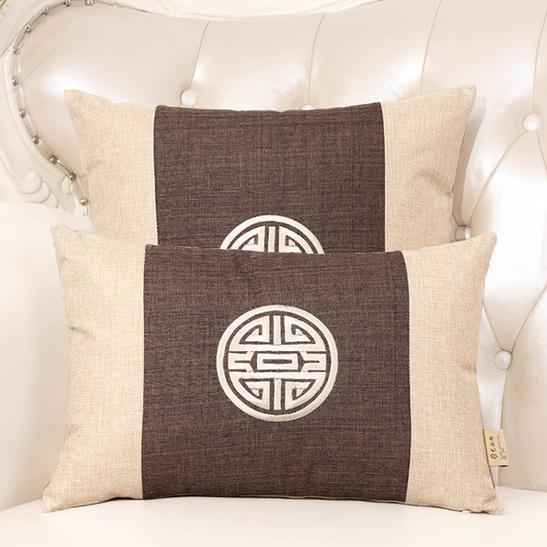 Chinese Embroidery Joyous Cushion Cover Vintage Linen Cotton Lumbar Pillow Covers Classic Decorative Pillow Case