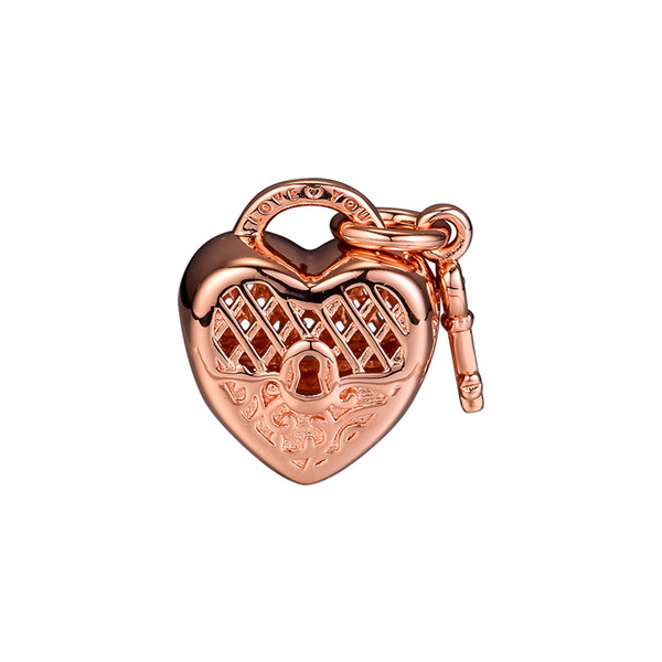 2018 Autumn 925 Sterling Silver Jewelry Love You Lock Rose Gold Charm Beads Fits Bracelets Necklace For Women Jewelry Making