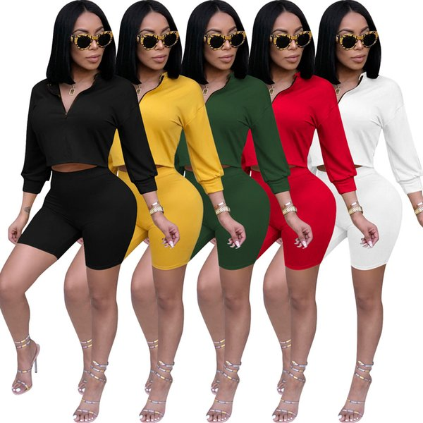 Sexy Two Piece Set Women Long Sleeves Casual Clothes Zip Crop Shirts Top+Slim Short Pants Summer Outfit Two Piece Tracksuit