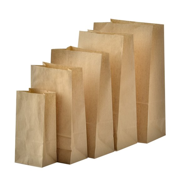 50pcs White Kraft Paper Bags Gusseted Bags That Stand Up candy bag Merchandise Bags