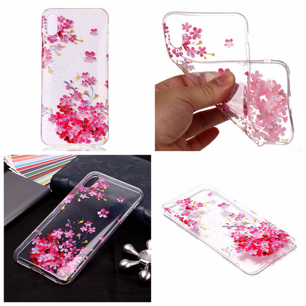 For Iphone XR XS MAX X Fashion Flower Soft TPU IMD Case Clear Pineapple Lace Butterfly Dolphin Skull Bear Gel Feather Donut Skin Cover