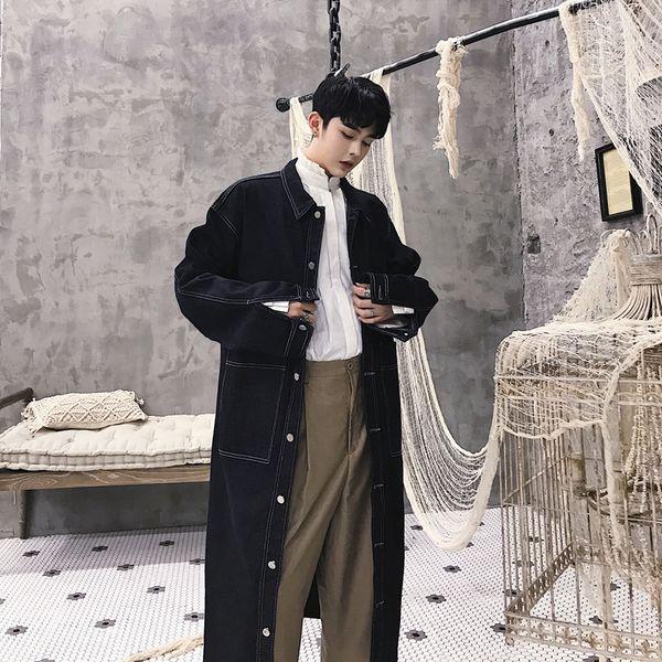Men Long Denim Trench Coat High Street Hip Hop Fashion Casual Loose Cowboy Cardigan Jacket Male Jean Windbreaker Overcoat