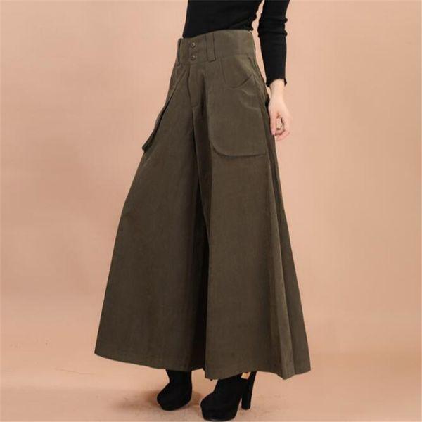 Más el tamaño de verano Mujeres Pantalones de vestir de pierna ancha Vintage Femenina Casual sólido Falda Pantalones Sueltos 50 s Capris Culottes Bolsillo ZY3365 S914