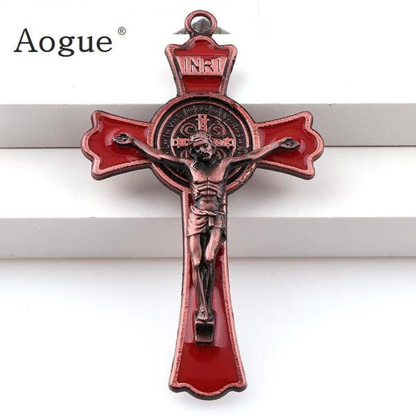 Esmalte de colores Jesus Crucifix Doble Draw cruces encantos INRI Saint Benedict Crucifix colgantes de colgantes Collar
