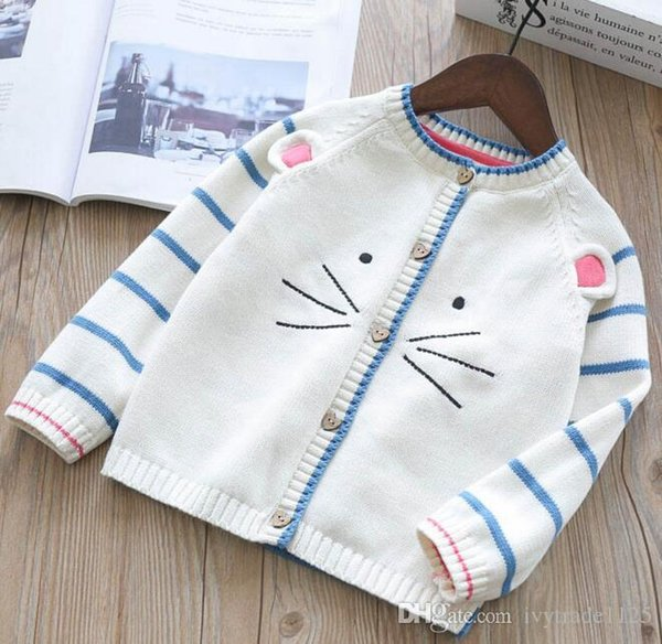 INS styles new hot selling Girl kids spring autumn long sleeve Pure cotton Cardigan cat pattern knitted sweater for Girl