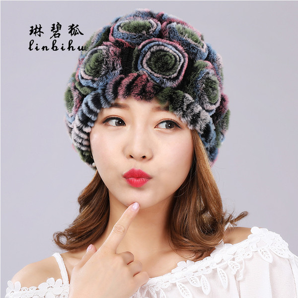 Women Real Rex Rabbit Fur Hats Fashion Rose Flower Style Beanies Lovely Girls Hats Winter Ladies Warm Knitted Rabbit Fur Caps D18110102