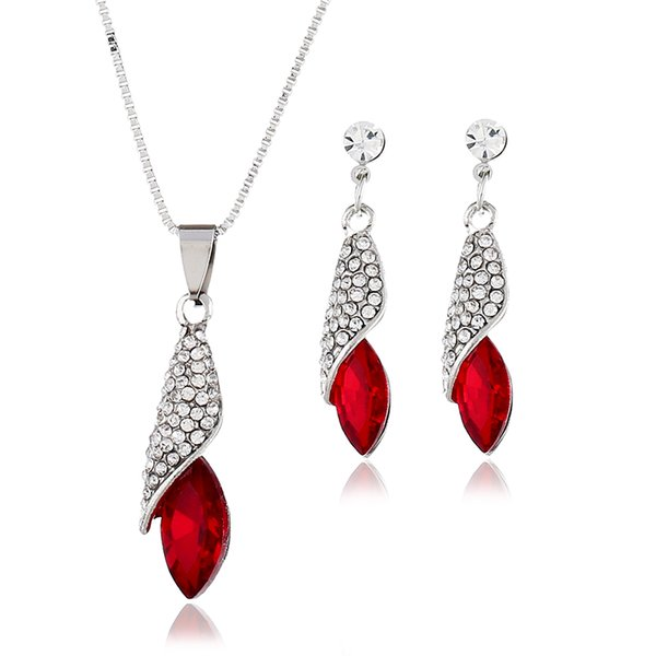 Fashion Delicate Leaves Rhinestone Pendants Earrings Unique Design Crystal Water droplets Necklaces Wedding Banque