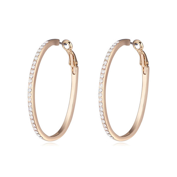 whole sale2017 Gold Color Hoop Earrings Made with Austrian Elements Crystals Brincos Women Rock Jewelry