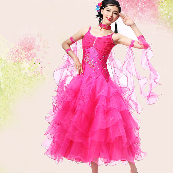 New Adult Ballroom Dance Dress Modern Waltz Standard Competition Dance Dress Red/Rose/Blue/Green/White/Black Rhinestone Embroidered Dress 01