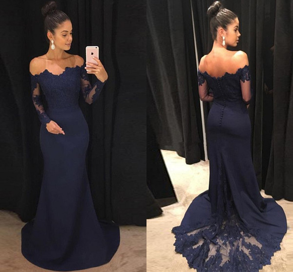Modest Long Sleeve Prom Dress Lace Cheap 2019 Off the shoulder Illusion Designer Mermaid Sweep Train New Evening Formal Party Dress Gowns