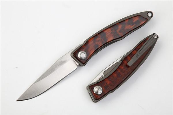 Special Offer M390 Steel CR EDC Pocket Folding Knife Satin Finish Blade TC4 Titanium Alloy + Snake Wood Handle Best Gift knives EDC Gear