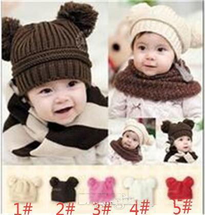 2017 nuevo 10 unids bebé cachorro bebé doble bola de lana sombrero de punto baby boy para mujer hecho a mano gorro de algodón para niños M055