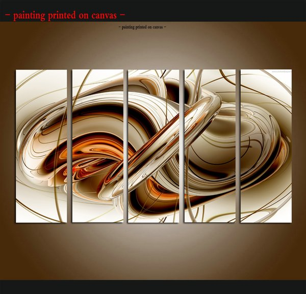 Large 5 Panel Modern Abstract Brown White Lines Wall Art Painting Beautiful Picture Print On Canvas For Home Decor Decoration Gift ASet191