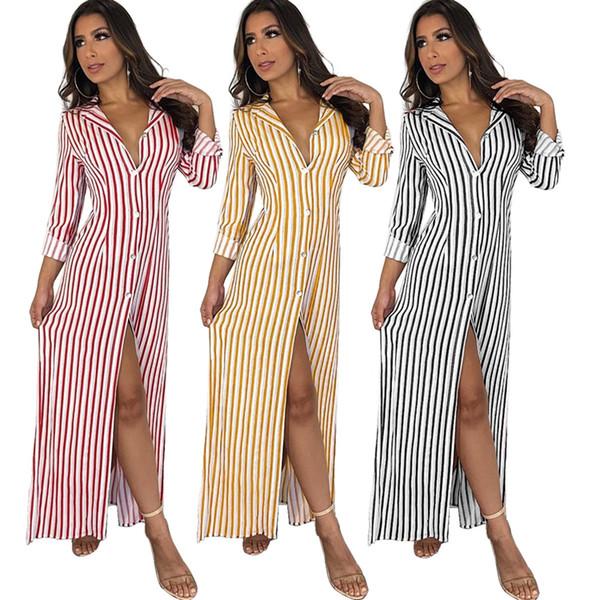 2018 Autumn Women Long Sleeve Turn Down Collar Striped Printed Shirt Dress Casual Loose Front Button Club Long Maxi Dress
