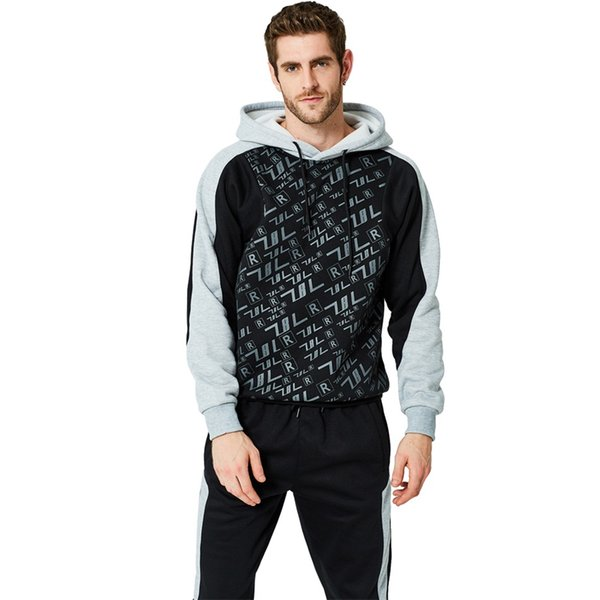 2PCS Men Tracksuits Sportswear Suits Jacket Coat Hiphop Long Sleeve Zipper Fitness Pullover Hoodie+Pants Casual Outwear Trousers