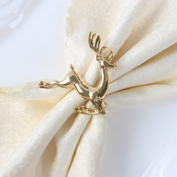 Noel geyik peçete halkaları Gümüş / Altın Alaşım peçete toka peçete toka otel düğün parti masa dekorasyon