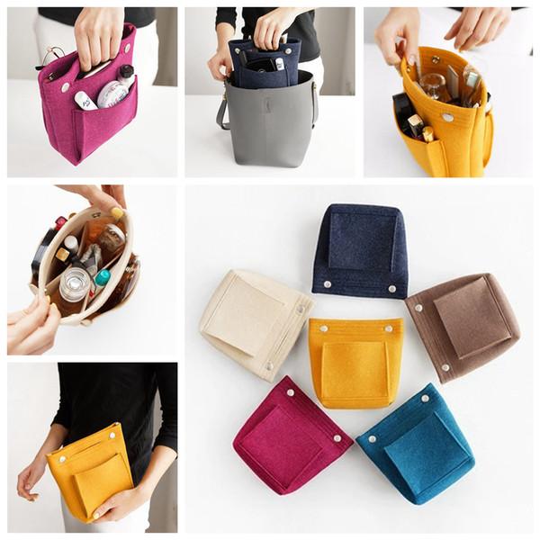 Women Felt Cloth Insert Bag Solid Multifunctional Cosmetic Bag Handbag Open Makeup Bag Makeup Organizer Ladies Travel Organizer AAA312