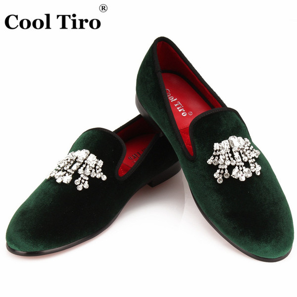 ArmyGreen Velvet Loafers Men Smoking Slippers Prom Party Wedding Rhinestones Crystal Tassel Dress Shoes Casual Flats