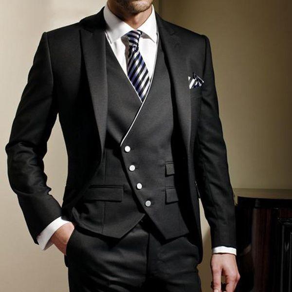 Classy Black Formal Men Suit Slim Fit trajes para hombre Bespoke Novio Tuxedos Blazer para la boda de la chaqueta de baile pantalones con chaleco 3pcs