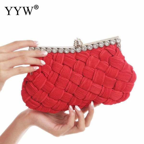 Weave Evening Bags Diamond Rhinestone Pearls Beaded Wedding Clutch Women'S Purse Handbags Wallets Evening Clutch Bag Bolsa