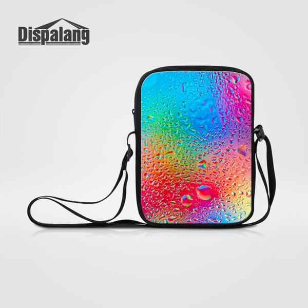 Dispalang Over Shoulder Small Messenger Bag Colorful Water Drops Print Mini Crossbody Bags Spanish Satchel Bag Kids Mini Bookbag
