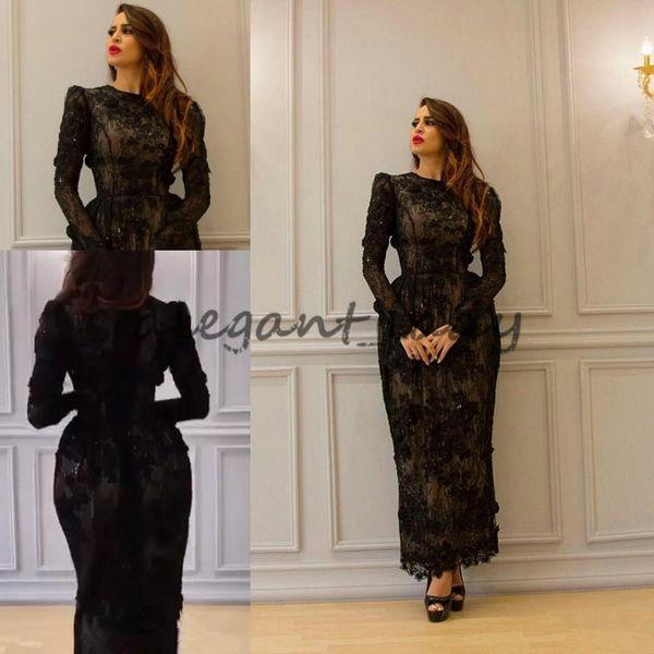 Yousef Aljasmi Vintage Tea-length 3D Floral Evening Dresses with Long Sleeve 2018 Modest High Neck Full Back Dubai Arabic Prom Gowns