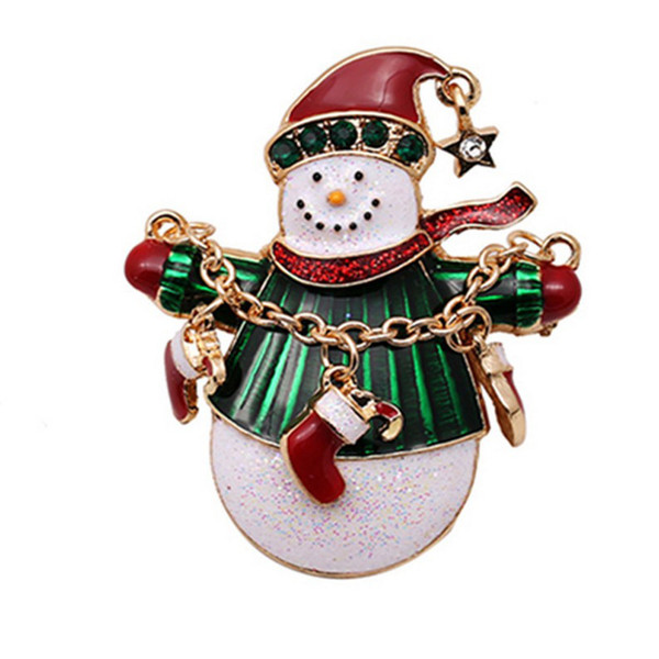 Christmas Xmas Decoration 1pc Christmas Tree Brooches Pin Snowman Brooch Alloy Gold Rhinestone Jewelry 4*6cm Ornaments *SY